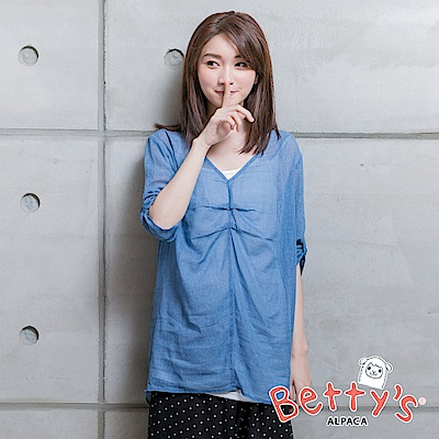 betty's貝蒂思 棉質背心+透膚長版V領襯衫(深藍)