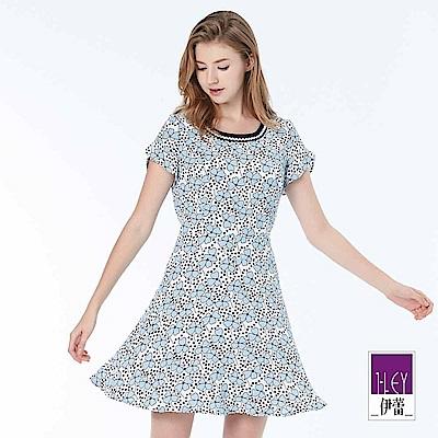 ILEY伊蕾 幸運草印花短袖圓領洋裝(藍)