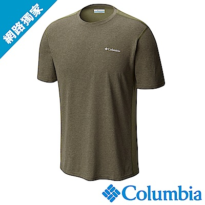 Columbia哥倫比亞 男款-快排短袖上衣軍綠 UAM13010AG