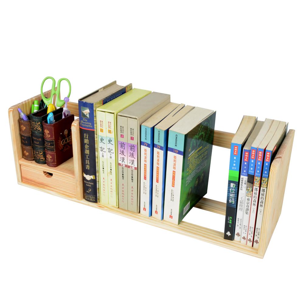 LIFECODE 極簡風-松木桌上型書架(單抽屜)