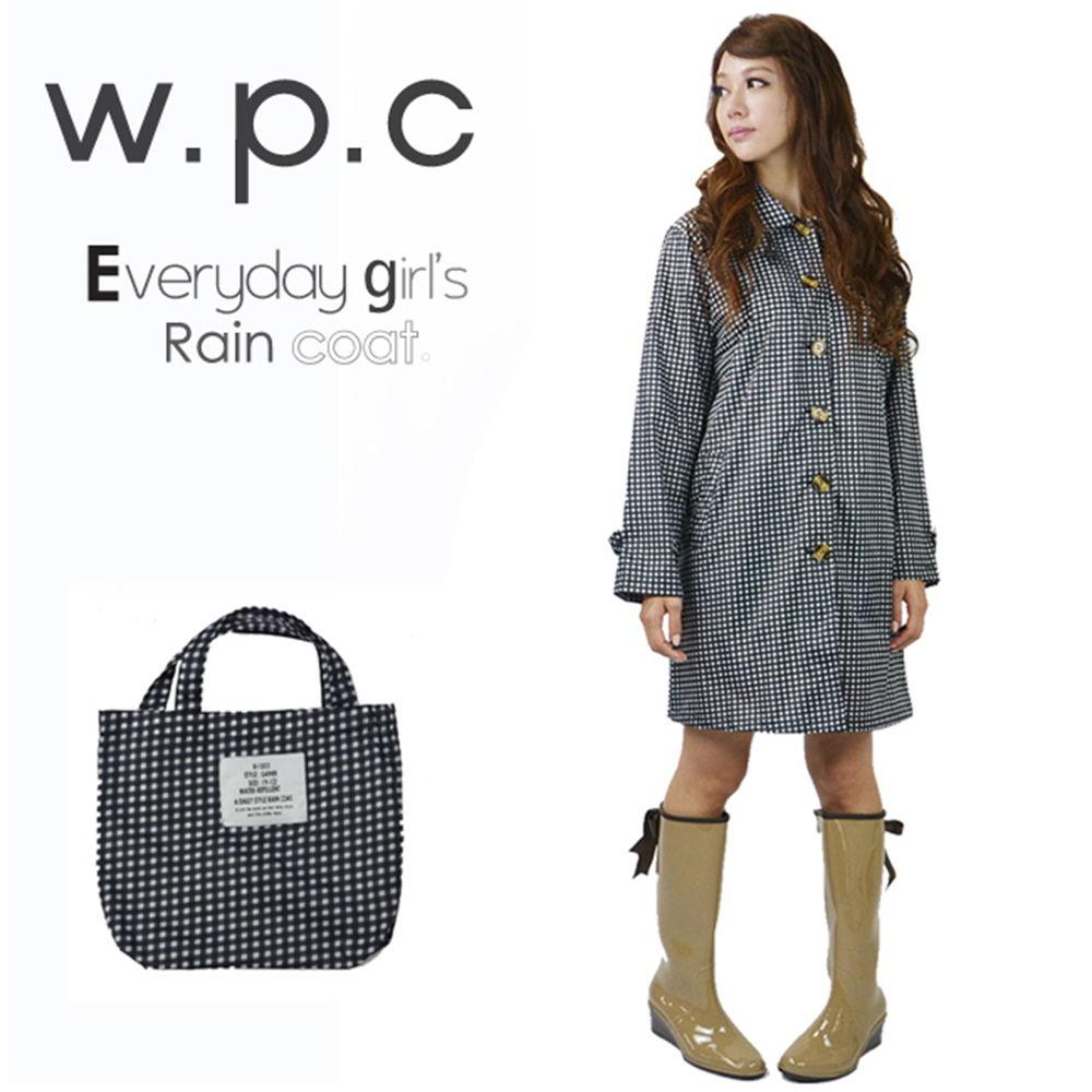 【w.p.c.】格紋扣子款。時尚雨衣/風衣(R1009)_黑白格