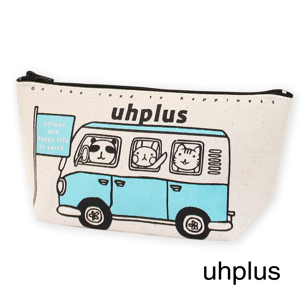 uhplus 萬用收納包-可愛動物巴士(晴天藍)