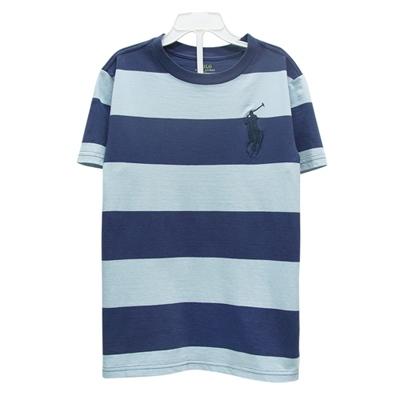 Ralph Lauren 經典大馬刺繡休閒寬條紋短袖t恤-藍色(7歲)