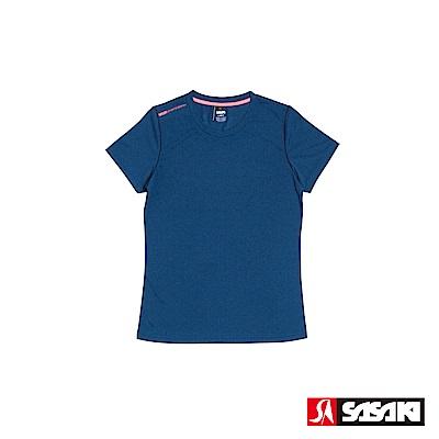 SASAKI 抗紫外線速乾吸排功能休閒圓領短衫-女-底特律藍/豔桔