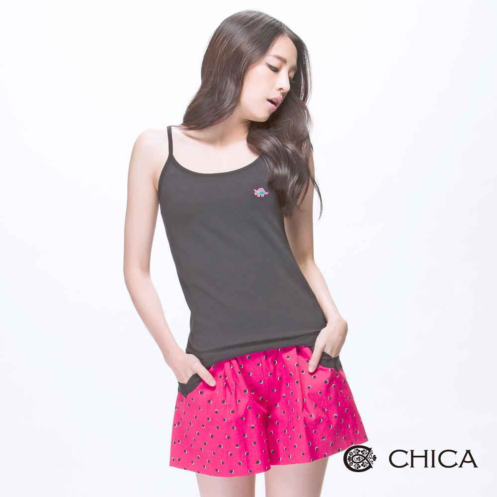CHICA 變色龍刺繡合細肩帶上衣(4色)