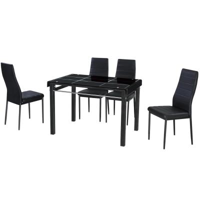 AT HOME-馬可3.6尺餐桌椅組-一桌四椅(兩色可選)110x70x73cm