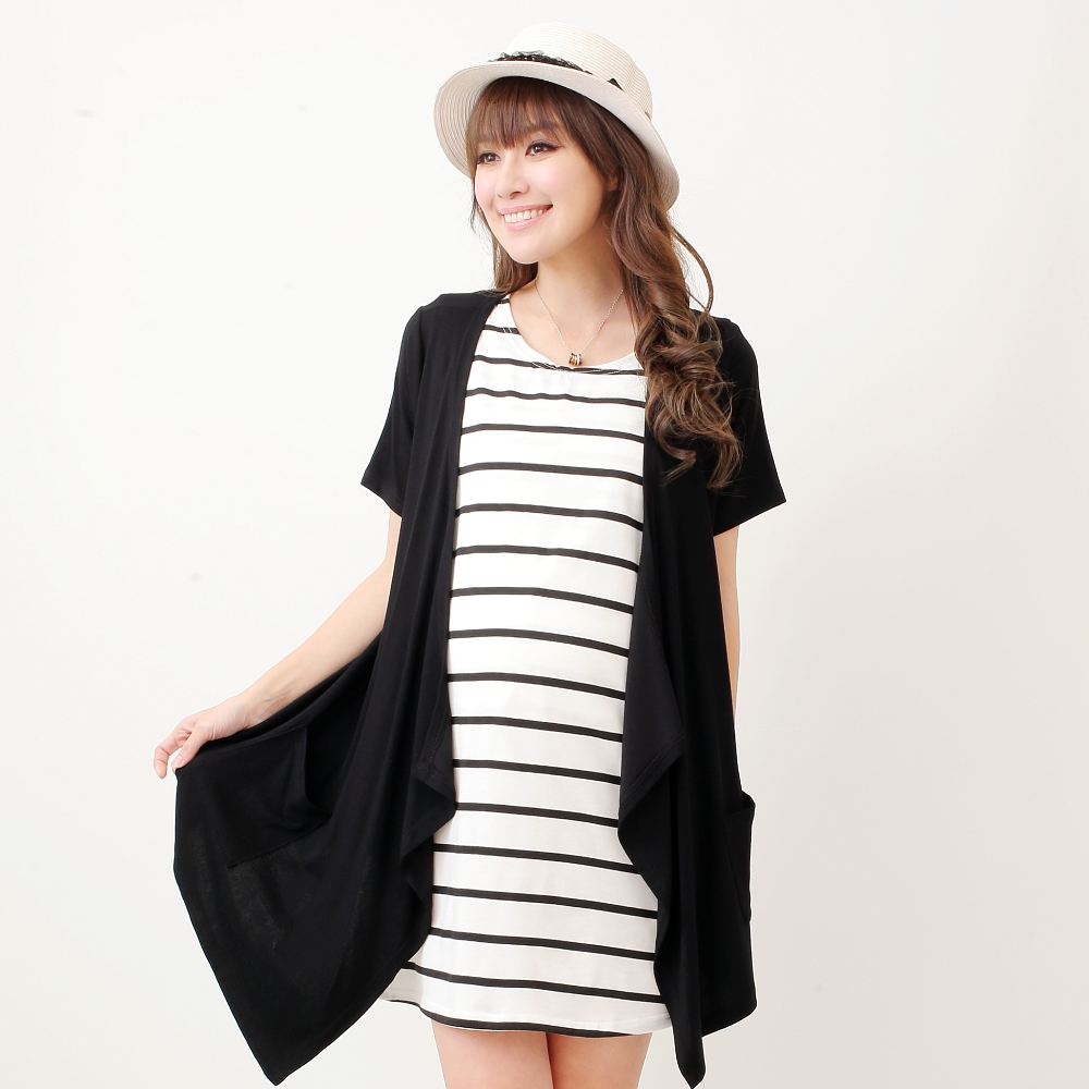 Keep Chic孕婦裝-黑色兩件式條紋修身洋裝