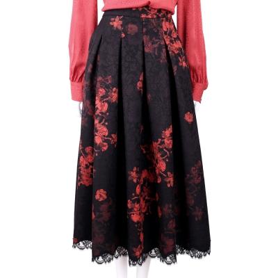 CLASS roberto cavalli 紅黑色印花厚實蕾絲氣質澎裙