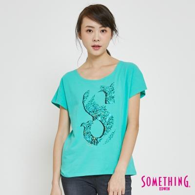 SOMETHING 藤蔓LOGO印花T恤-女-青綠色