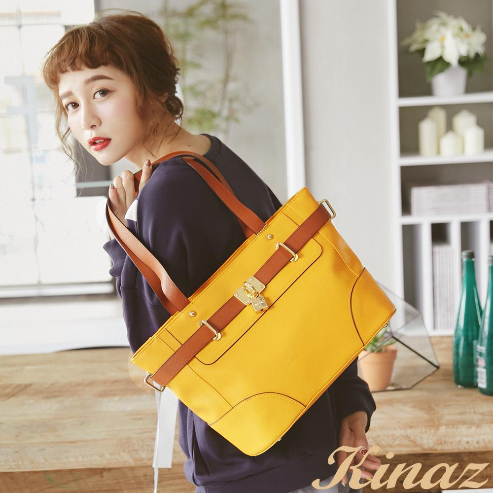 KINAZ - Passion微笑熱情時光~熱帶果色肩揹包-甜膩黃