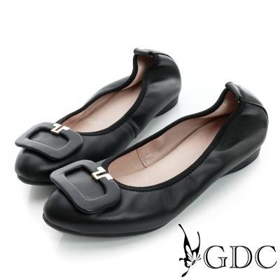 GDC都會-方形飾扣柔軟彈性真皮低跟鞋-黑色