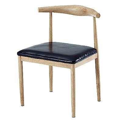 AS-亞伯特黑色皮墊餐椅-54x54x73cm