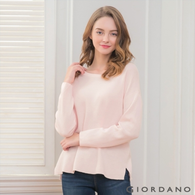 GIORDANO 女裝雙面穿純棉圓領V領針織衫 - 06 薄紗粉紅/皎雪