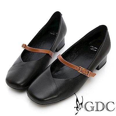 GDC-真皮方頭扣帶質感上班粗跟鞋-黑色