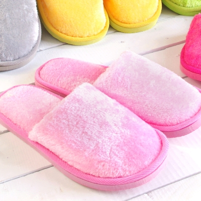 粉彩馬卡龍保暖舒適拖鞋(粉紅一雙)