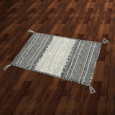 【Ambience】Kilim 手織純棉地毯 -灰黑色 (60x90cm)
