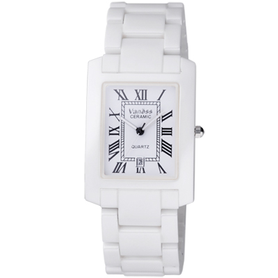 Vaness 羅馬風情經典陶瓷腕錶-白/28mm