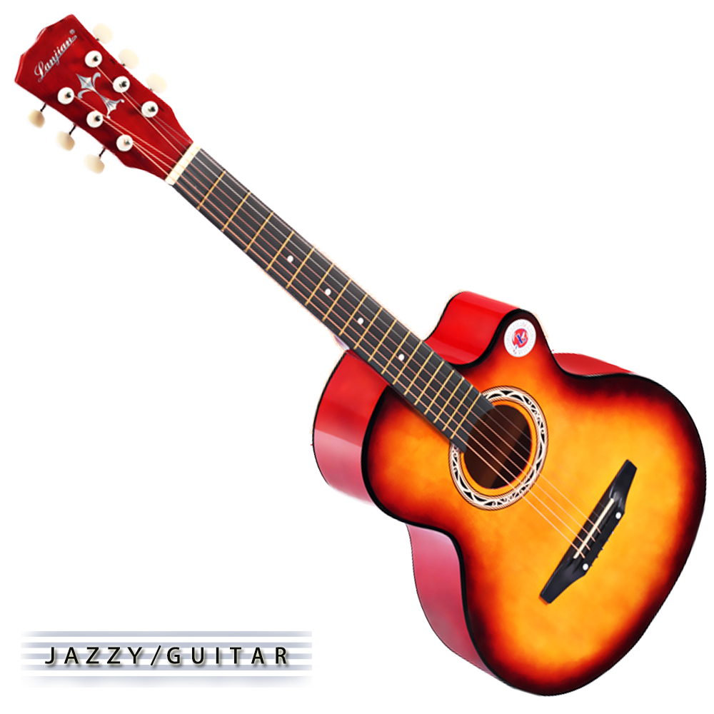 Lanjian系列 38吋,缺角民謠吉他,木吉他,琴袋+背帶+彈片+全配備 (落日色)