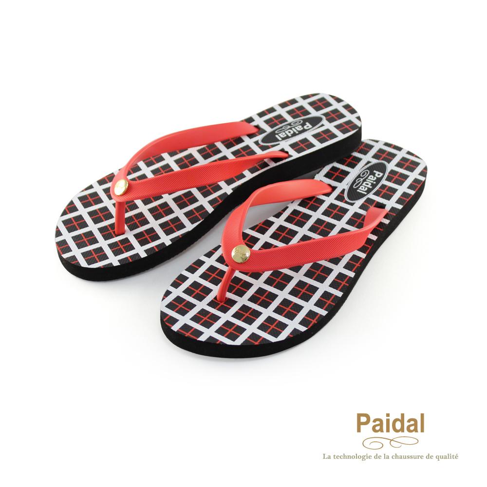Paidal 經典方格海灘拖鞋人字拖鞋--紅