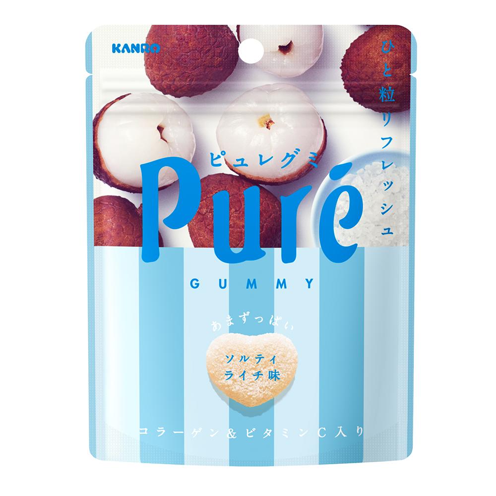 甘樂Kanro Pure鮮果實軟糖-海鹽荔枝(56g)