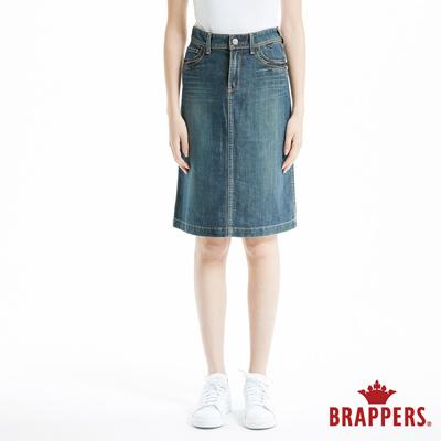 BRAPPERS 女款 新美腳ROYAL系列-彈性鑲鑽七分後開叉裙-深藍