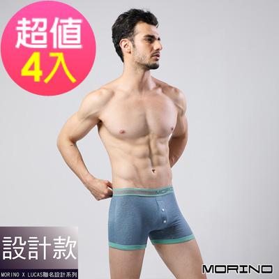 男內褲 設計師聯名-經典緹花平口褲  藍(超值4入組)MORINOxLUCAS