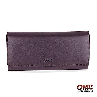 OMC 原皮系列-植鞣牛皮壓扣16卡透明窗三折雙隔層零錢長夾-紫色