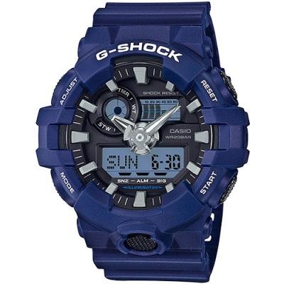 G-SHOCK GA-700全新色系經典百搭雙顯錶(GA-700-2A)-藍/53.4mm