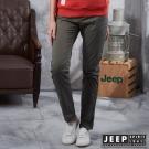 JEEP 女裝 窄管修身休閒長褲 -橄欖綠