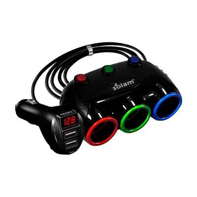 三孔獨立開關 炫彩 擴充座-電壓顯示 CAR-E06 升級版(黑色) -8H