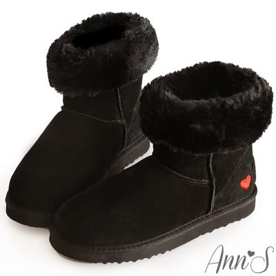 Ann'S甜美女孩-刺繡愛心2way可愛雪靴 黑