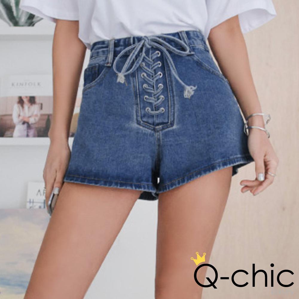 正韓 高腰馬甲繩縫線牛仔短褲 (共二色)-Q-chic