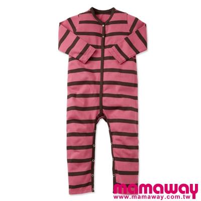 Mamaway-開襟條紋連腳長褲包屁衣-共三色