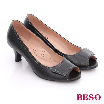 BESO-簡約知性-素色真皮縫線窩心魚口跟鞋-黑