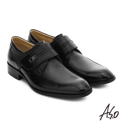 A.S.O 菁英通勤 真皮魔鬼氈奈米紳士鞋 黑色