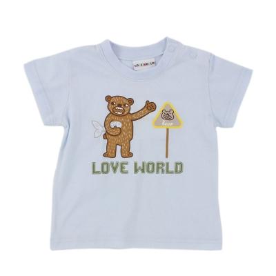 愛的世界 純棉圓領熊出沒印圖短袖T恤-淺藍/1~2歲