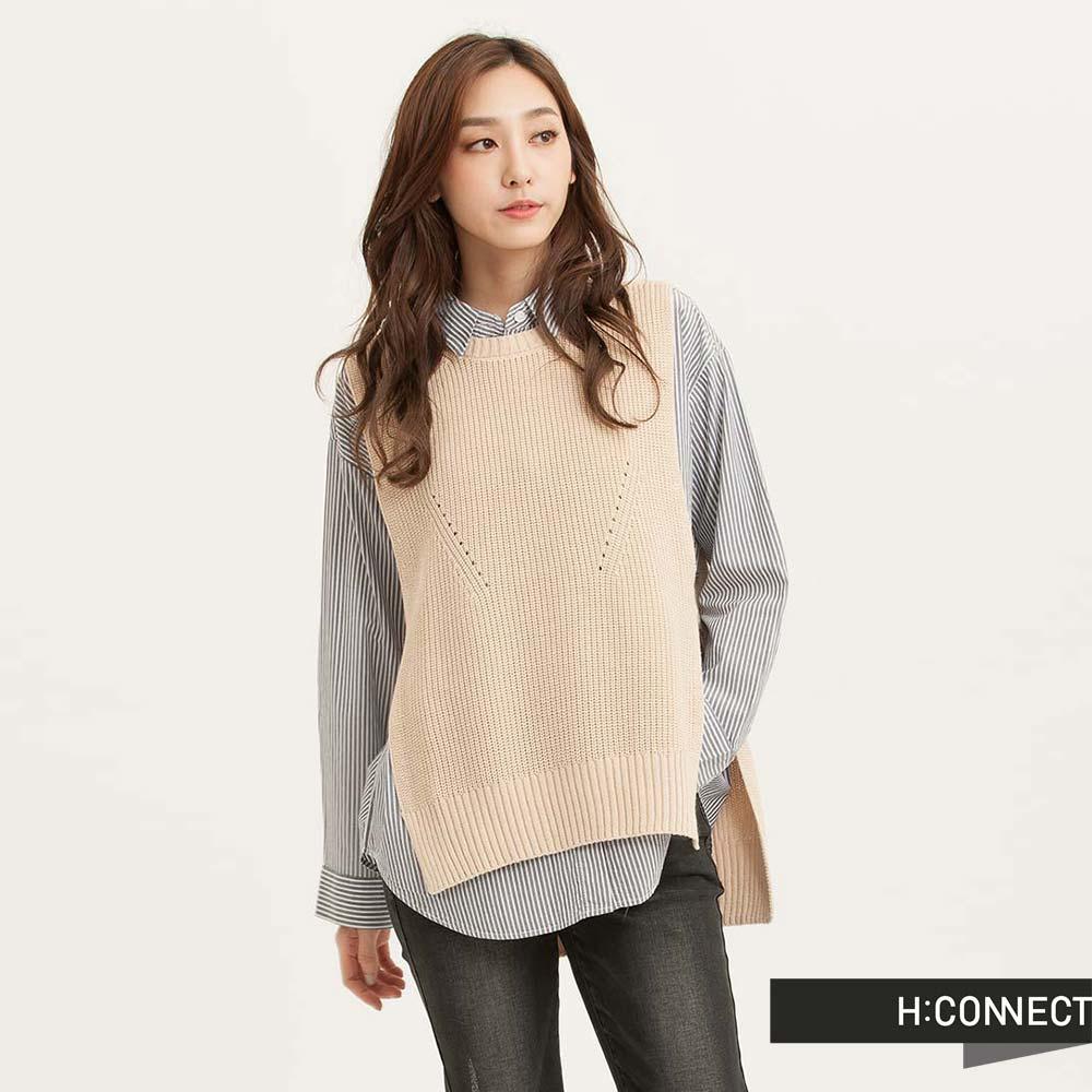 H:CONNECT韓國品牌女裝設計感側開針織背心棕
