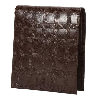 DAKS經典立體正格紋零錢袋短夾(咖啡色)