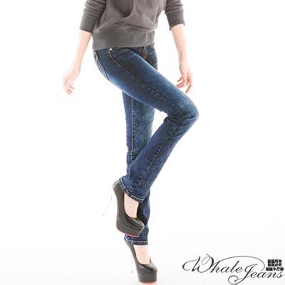 WHALE JEANS 甜心個性雪花窄管褲(2色)_深中藍