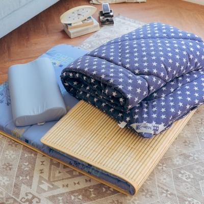 米夢家居 台灣製造 涼爽桂竹熱烘棉單人床墊+記憶枕+防蹣抗菌暖暖被(藍)外宿熱賣三件組