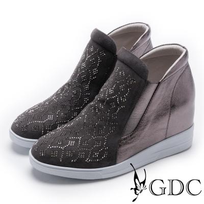 GDC-真皮高筒滿版水鑽休閒鞋-槍灰色