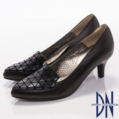 DN-都會質感-簡約造型羊皮尖頭高跟鞋-黑