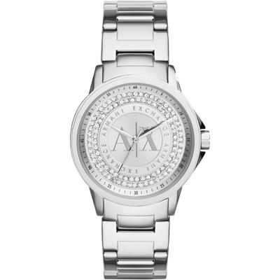 A│X Armani Exchange 都會名媛晶鑽時尚腕錶-銀/35mm