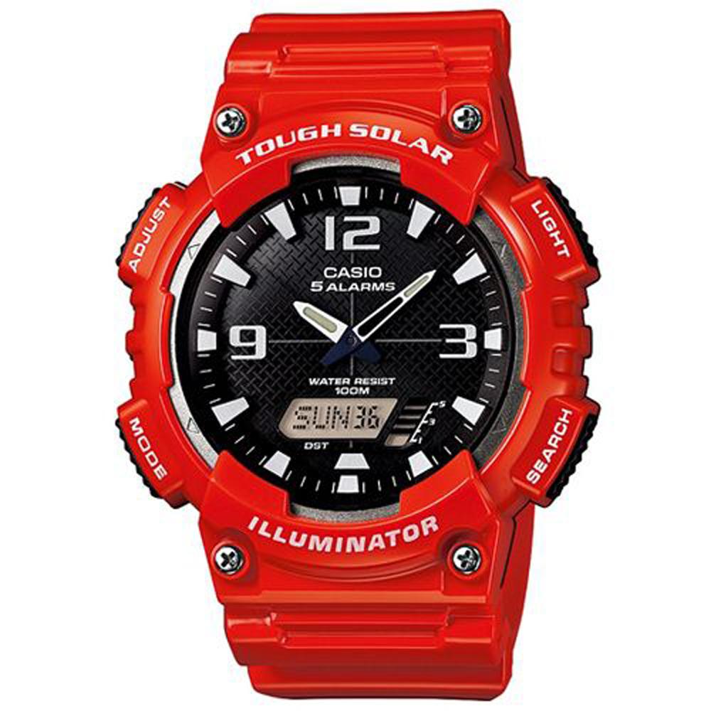 CASIO 新一代光動遊俠雙顯運動錶(AQ-S810WC-4A)-黑面/紅色/52mm
