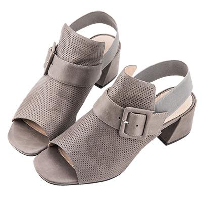Robinlo Studio 摩登知性沖孔牛皮粗跟涼鞋 灰色
