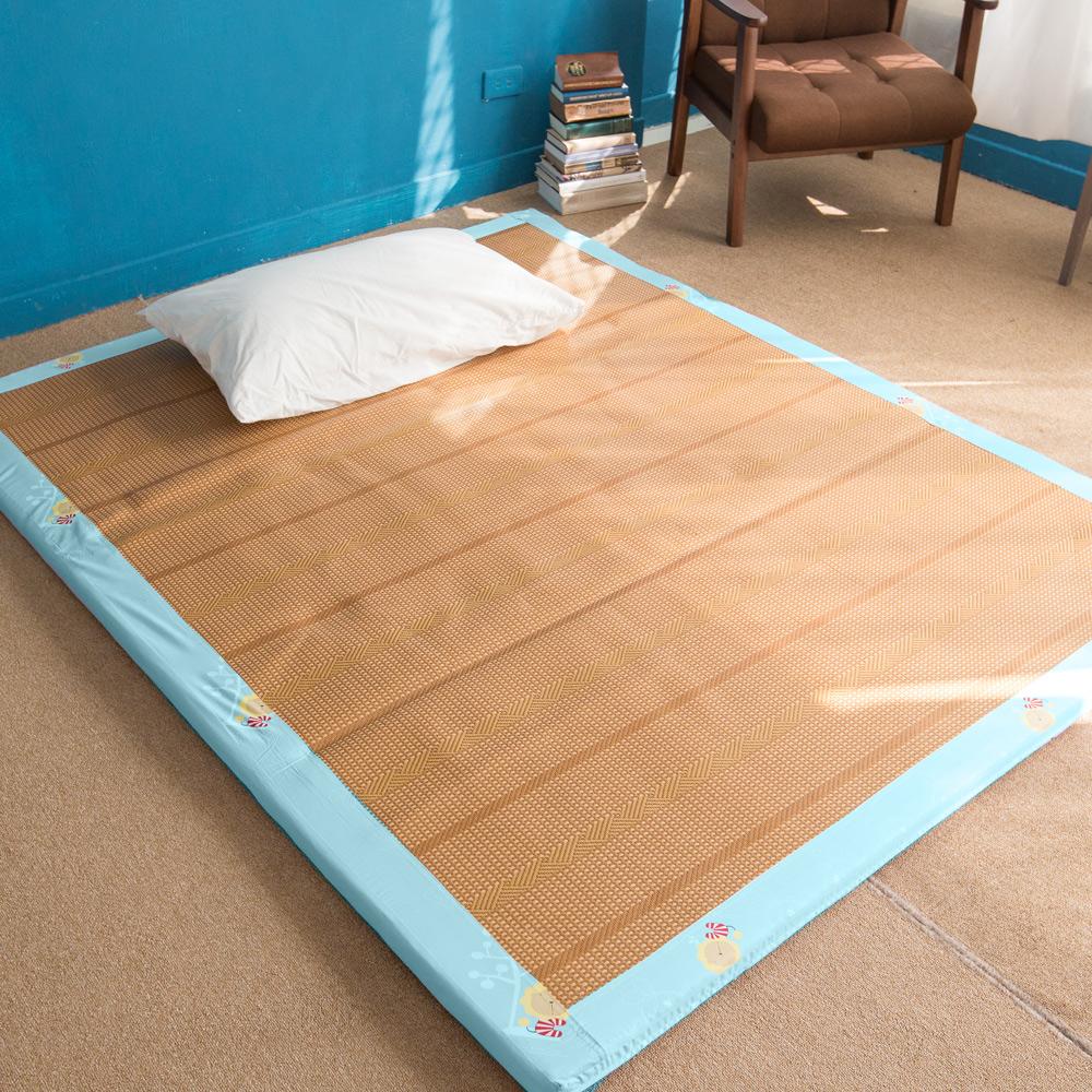 奶油獅 正版授權-台灣製造-葉語純棉紙纖三合一記憶床墊-單人3尺(水藍)