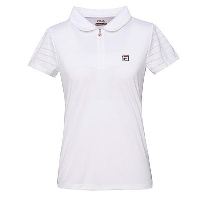 FILA 女抗UV吸濕排汗POLO衫-白 5POS-1007-WT