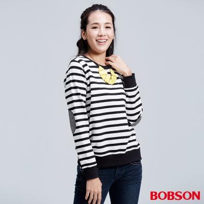 BOBSON-女款黑白橫條紋徽章上衣