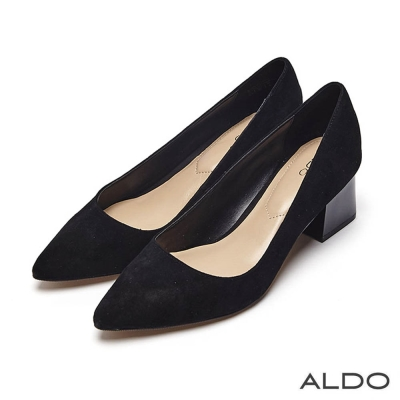 ALDO 原色魅力麂皮車線尖頭粗跟鞋~尊爵黑色