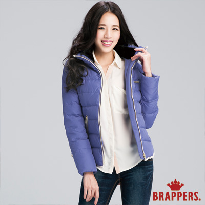 BRAPPERS 女款 女用立領麂皮滾邊羽絨外套-藍紫